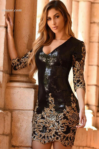 Wholesale Fashion Dress Manufacturer Victorian Gold Sequins 3/4 Sleeves Bodycon Dress