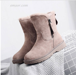 Best Snow Boots for Women Waterproof Women's Snow Boots Leather Women's Winter Boots Snow Boots Zipper Warm Mid Boots