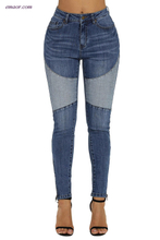 Retro Patch Length Front Ankle Zipped Jeans Skinny Jeans on Sale