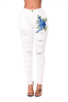 Fashion Nova Women's Ripped Skinny Girl Jeans