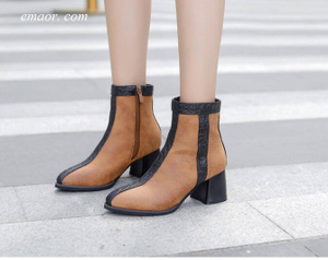Women's Dress Boots Autumn Winter High Heel Warm Boot Leather Ankle Boots Women's Ankle Boots Low Heel