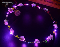 Battery Operated GarlandColorful LED Flashing Flower Headband Party Wedding Concert Holiday Party Supplies